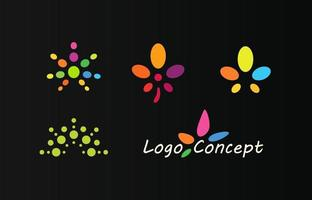 Hemp color icons, logo set. Marijuana emblem template. vector