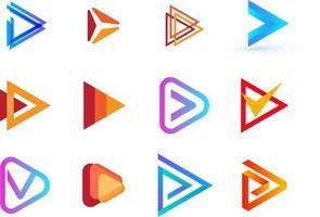 Play button vector creative logo collection