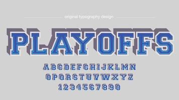 Blue Varsity College 3D Typography vector