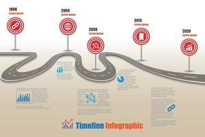 Plantilla de infografía de línea de tiempo de hoja de ruta empresarial con señal de tráfico vector