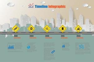 Plantilla de infografía de línea de tiempo de hoja de ruta de la ciudad con señal de tráfico vector
