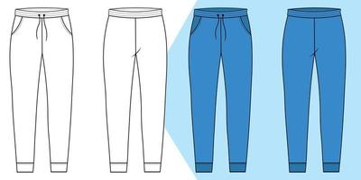 Track pant outline with front and back pattern vector