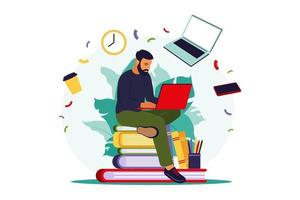 Student man with laptop. Online education concept. vector