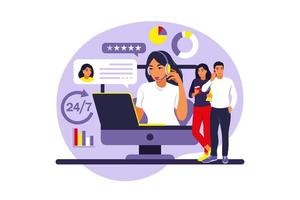 Customer service concept. Woman with laptop. Assistance, call center. vector