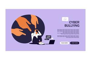 página de inicio del acoso cibernético. opinión y la presión de la sociedad. vector