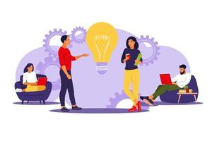 Business people team in office or coworking space. vector