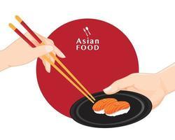 sushi and chopsticks, Japanese food illustration for sushi, Vector