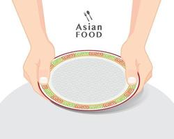 Hands holding empty plate over a table, isolated vector illustration
