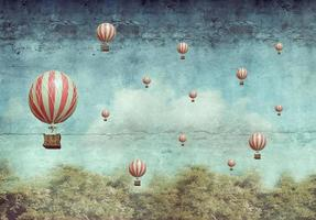 Hot air ballons flying over a forest photo