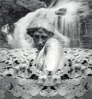 Fantasy Statue Background black and white photo