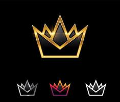 Golden Royal Crown Vector Sign