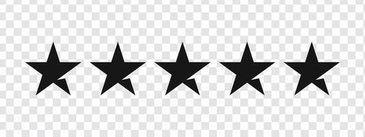 Five Star Rating Black vector set