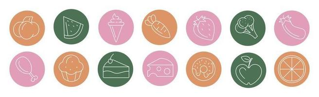 Bright icons of various foods and drinks - Vector