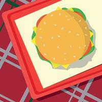 Fast food lying on a tray, checkered tablecloth - Vector