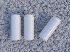 Mockup picture of 3d rendering of white and silver cans. photo