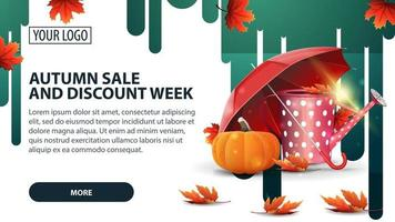 Autumn sale and discount week, banner with garden watering can vector