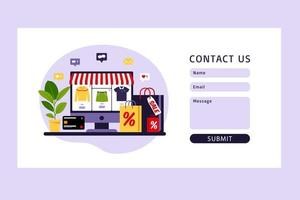Contact us form. Online shopping. Modern flat concept for web design. vector