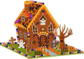 halloween gingerbread house with   candies and cookies vector