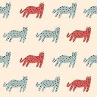 vector, retro, simple, gato, ilustración, motivo, seamless, repetición, patrón vector