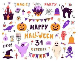 Large set with characters and icons for Halloween. vector