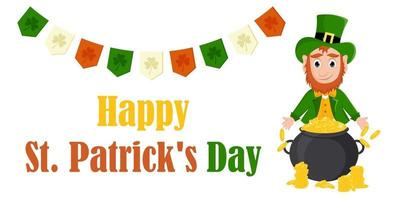 Banner for St.Patrick's Day. Leprechaun and pot of gold coins vector
