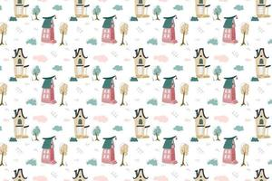 Seamless pattern of cute magic houses vector