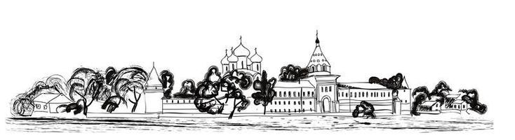 Old russian city landscape. Kostroma Kremlin cityscape. Tourist view vector