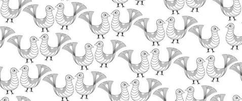 Bird pattern, Livestock seamless ornamental background. vector