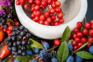 Medicina alternativa con hierbas farmacéuticas frutas y bayas. foto