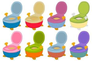 Illustration on theme kit plastic baby pots with comfortable handle vector