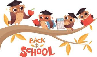 Back to school. cute cartoon baby owls and teacher on tree branch vector