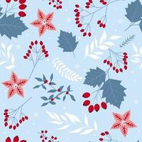 Seamless Christmas holiday cute floral elements, flowers, leaves vector