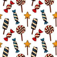 Hand drawn candy seamless pattern vector