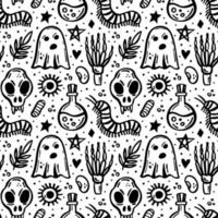 Halloween Day of dead Black ink vector seamless pattern Witch elements