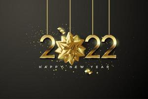 Happy new year 2022 with gold on black background. vector