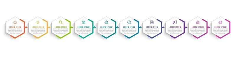 10 Steps Infographic for Business Presentation vector