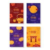 Oriental Mid Autumn Festive Card Collection vector