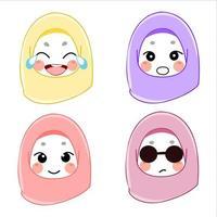 set of muslim women avatars vector