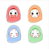 set of muslim woman with expressions avatars vector