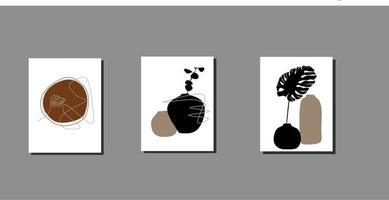 Modern minimalist flower pot abstract aesthetic illustration vector