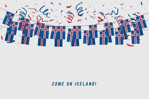 Iceland garland flag with confetti on gray background. vector