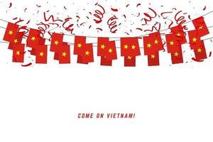 Bandera de la guirnalda de Vietnam con confeti sobre fondo blanco. vector