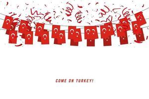 Bandera de guirnalda de Turquía con confeti sobre fondo blanco. vector