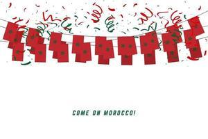 Bandera de la guirnalda de Marruecos con confeti sobre fondo blanco. vector