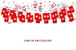 Switzerland garland flag with confetti on white background. vector