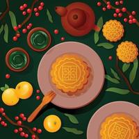 Delicious Moon Cake Mid Autumn Festival vector