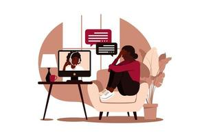 Online therapy under stress and depression. vector