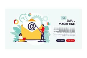 Email marketing, internet chatting, Landing page. vector