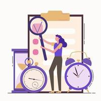 Self discipline flat concept illustration with time mana vector