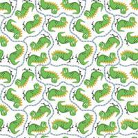 Seamless pattern with green cheerful dinosaur riding skateboard vector